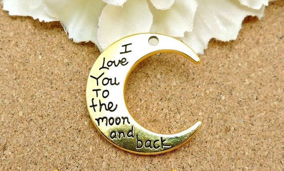 I Love You To The Moon & Back Charm (Gold)