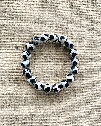 Dzi Agate Bracelet (black & white)