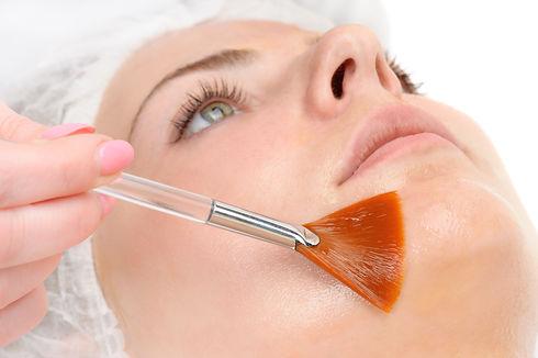 beauty salon, facial peeling mask with r