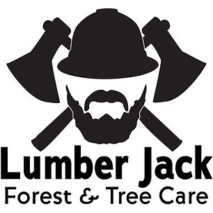 Lumber Jack Forest and Tree Care, LLC logo features the owners likeness with forestry axes silhouetted