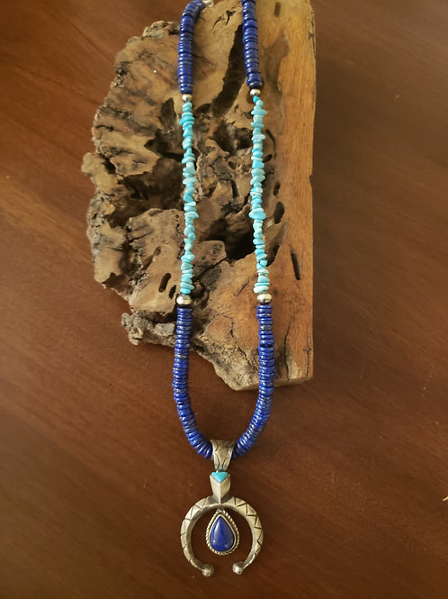 Lapis and Sleeping Beauty Necklace w/Naja