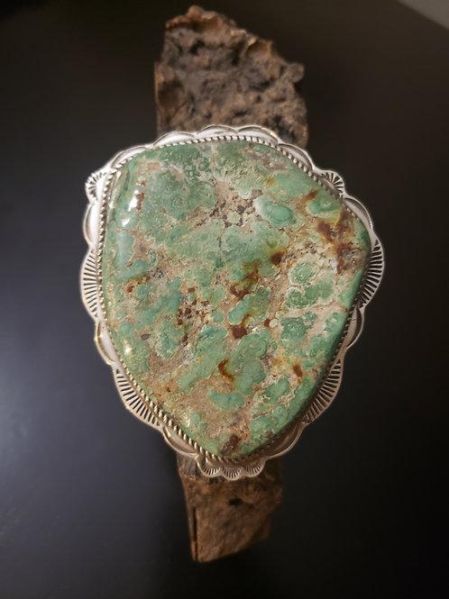 Large Turquoise Bracelet Handstamped Border