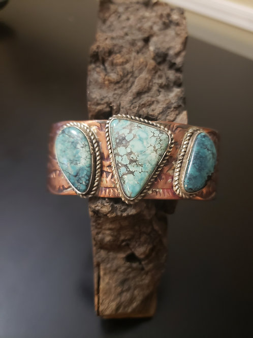 Handstamped Copper and Turquoise
