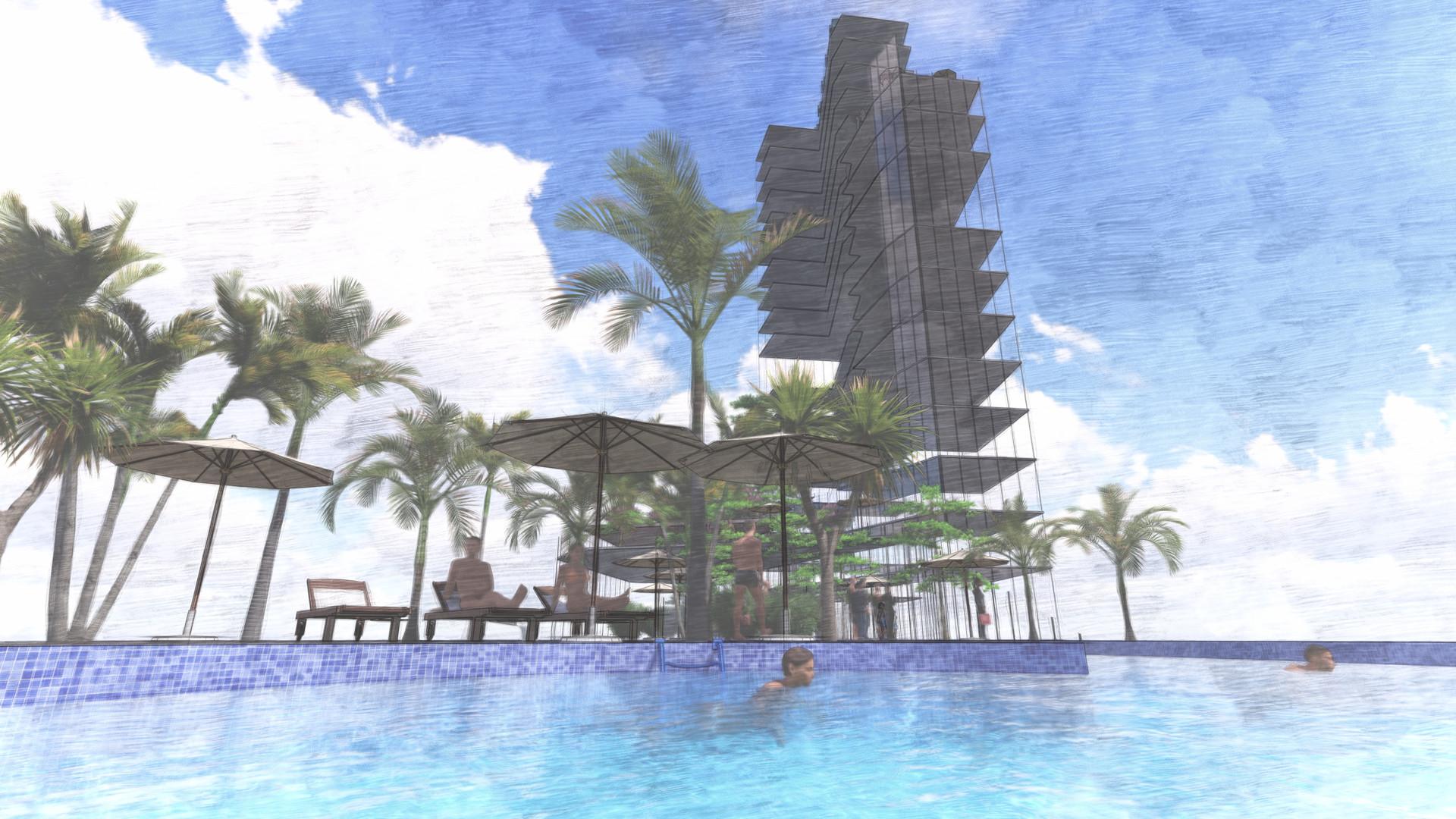 Option 2 - piscine et restaurant panoramique