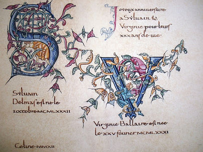 Création à partir d'un manuscrit du XII siécle Initiale S et V unies