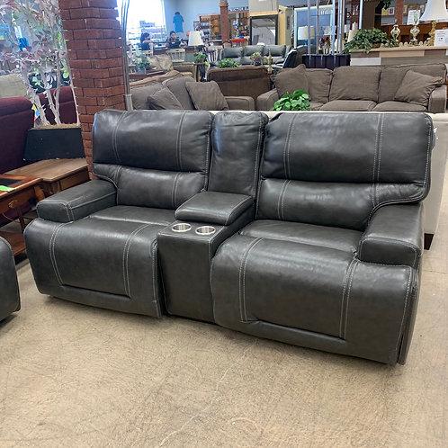 Grey Leather Loveseat