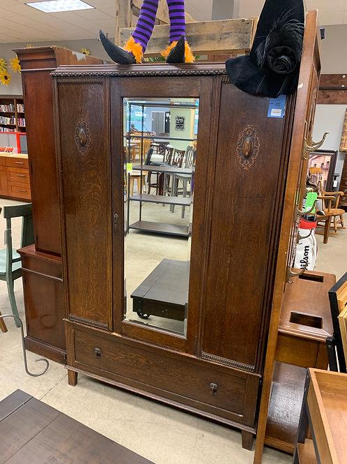 Dark Wood Vintage Wardrobe Armoire