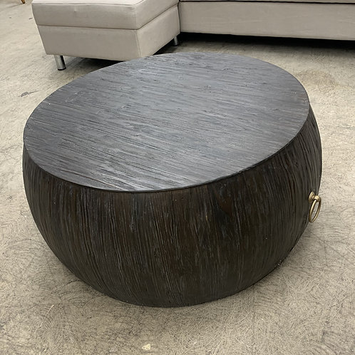 Distressed Wooden Ottoman w/ Gold Pull Ring