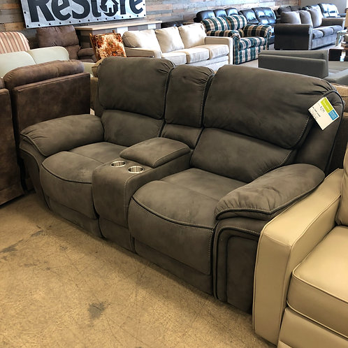Grey Suade Loveseat w/ Built in Power Pack