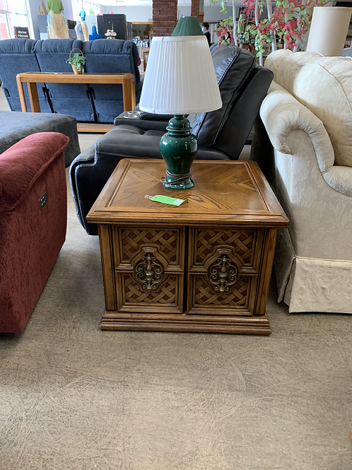 Detailed Wooden End Table with Storage