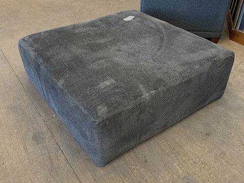 Oversized Charcoal Gray Fabric Ottoman