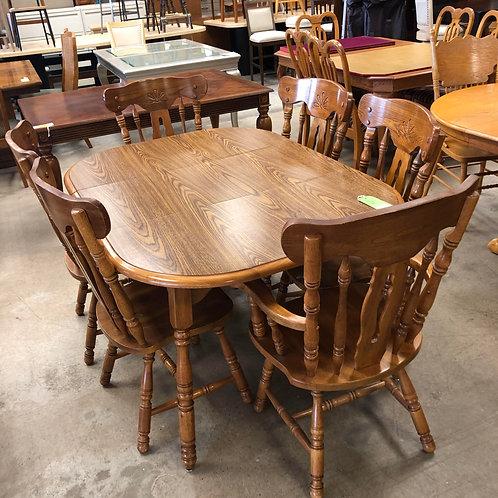 Dining Set W/ 6 Chairs+Leaf