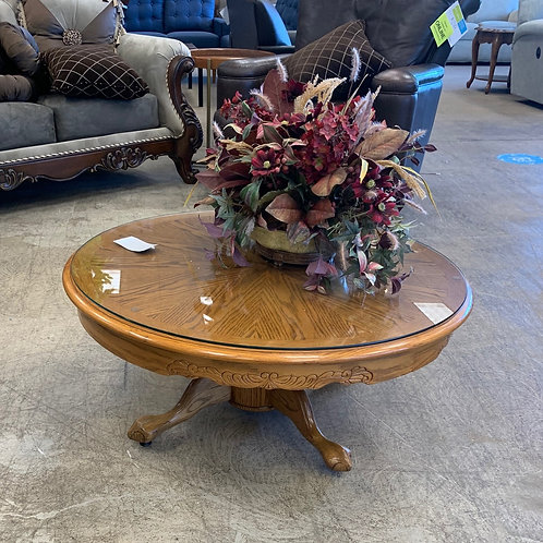 Wooden Round Glass Top Coffee Table