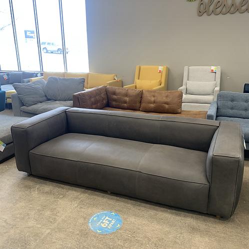 Grey Leather Mid Century Modern Sofa