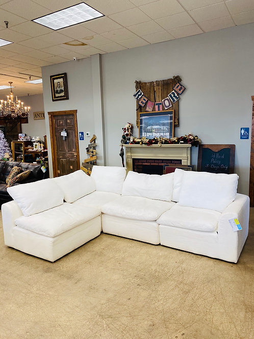 White Fabric 4pc Sectional