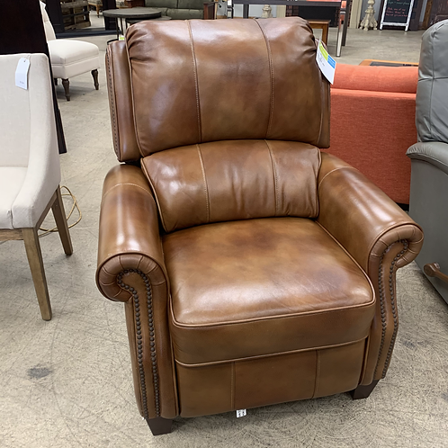 Brown Leather Push Recliner