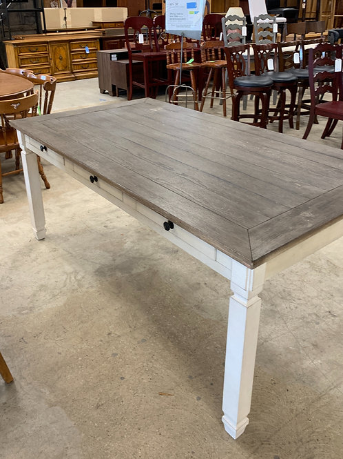 Farmhouse Distressed Table w/6 Drawers
