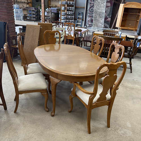 Dining Table + 2 Leaves + 6 Chairs