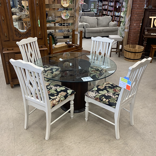 Round Glass Table w/ 4 Chairs