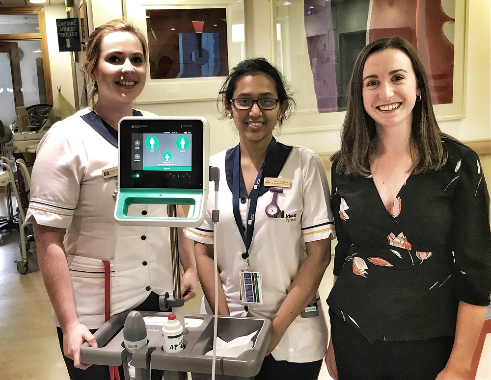 Nurse Managers in Our Lady's Ward at the Mater Private: Stephanie Rafter and Vitha Crasta with Kate O'Sullivan from Cardiogenics
