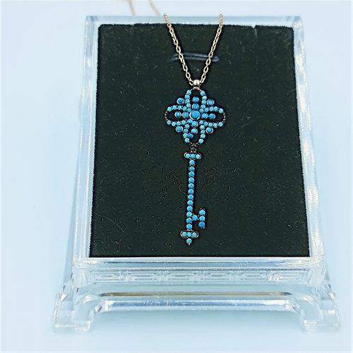 925 Ayar Gümüş  Mavi Taşlı Anahtar Figürlü Kadın Kolye