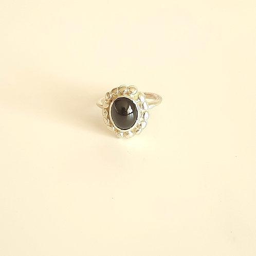925 Ayar Gümüş Siyah Akik Doğal Taşlı Özel Tasarım Yüzük