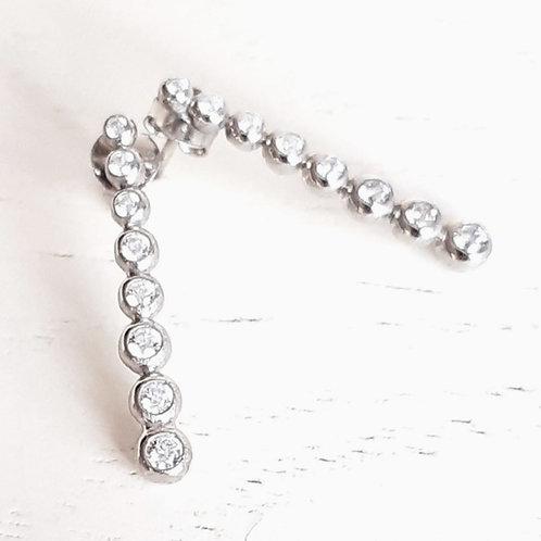 925 Ayar Gümüş Zirkon Taşlı Özel Tasarım Küpe