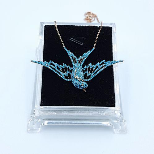 925 Ayar Gümüş  Mavi Taşlı Kuş Figürlü Kadın Kolye