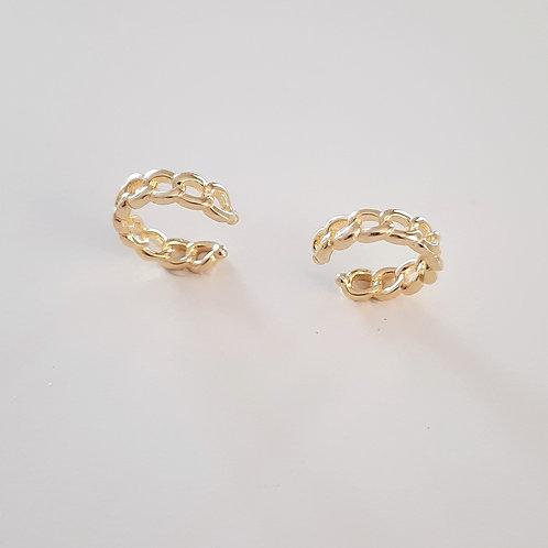 925 Ayar Gümüş Sarı Altın Kaplamalı Kıkırdak Küpe