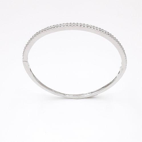 925 Ayar Gümüş Yarım Tur Zirkon Taşlı Kelepçe Bileklik
