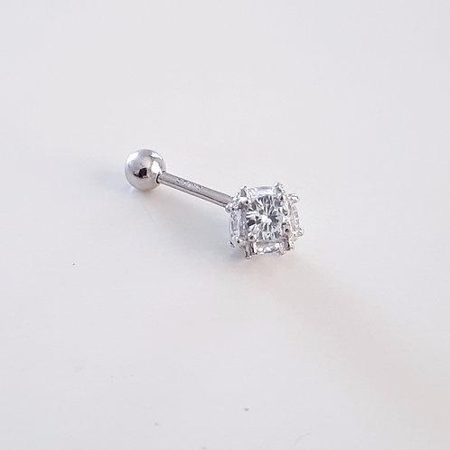 925 Ayar Gümüş Beyaz Zirkon Taşlı Tragus Piercing Küpe