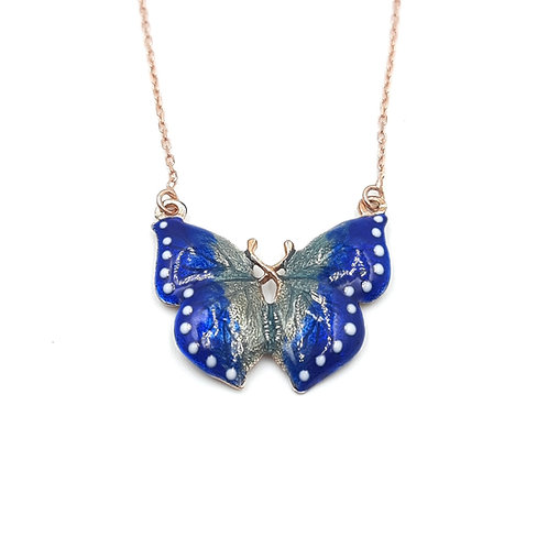 925 Ayar Gümüş Mineli Mavi Kelebek Kolye