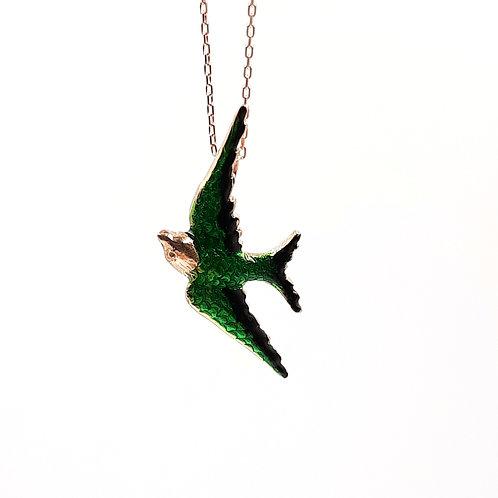 925 Ayar Gümüş Yeşil Siyah Mineli Kuş Kolye