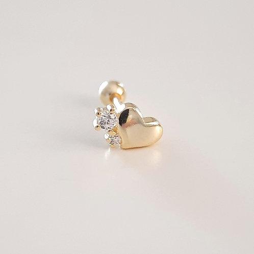 925 Ayar Gümüş Kalp Detaylı Beyaz Zirkon Taşlı Tragus Piercing Küpe