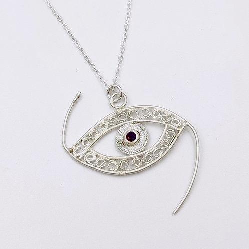 1000 Ayar Gümüş Göz Figürlü Özel Tasarım Telkari Kolye