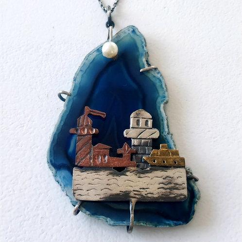 925 Ayar Gümüş Kalsedon Doğal Taşlı İstanbul Temalı Özel Tasarım El Yapımı Kolye