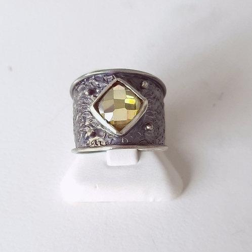 925 Ayar Gümüş Şampanya Zirkon Doğal Taşlı Özel Tasarım El yapımı Tek Yüzük