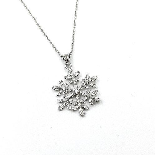 925 Ayar Gümüş Zirkon Doğal Taşlı Kar Tanesi Kolye