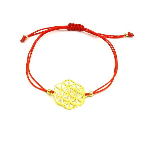 925 Ayar Gümüş Yaşam Çiçeği Figürlü Kırmızı Makrome Bileklik
