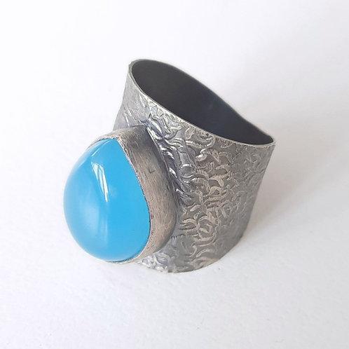 925 Ayar Gümüş Mavi Kuvars Doğal Taşlı Özel Tasarım Sarı Kalemli El Yapımı Yüzük