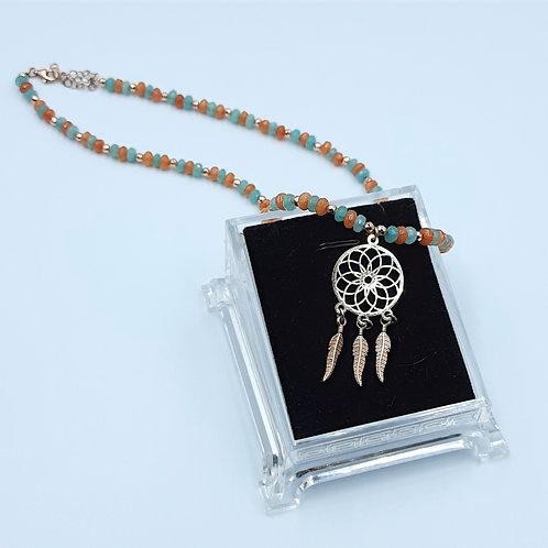 925 Ayar Gümüş Rüya Kapanı Dream Catcher  Jade Doğal Taşlı Özel Tasarım Kolye