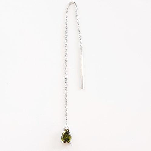 925 Ayar Gümüş Yeşil Zirkon Damla Taşlı Tek Küpe