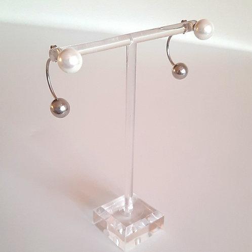 925 Ayar Gümüş İnci Doğal Taşlı Özel Tasarım El Yapımı Piercing Küpe