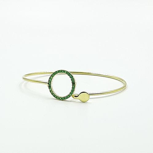 925 Ayar Gümüş  Zümrüt Yeşili Zirkon Taşlı Geçme Bileklik Bilezik