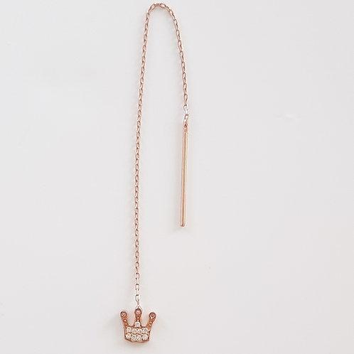 925 Ayar Gümüş Beyaz Zirkon Taşlı Taç Figürlü Zincir Tek Küpe