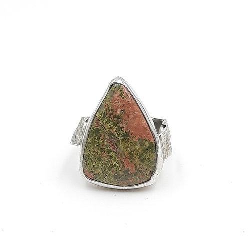 925 Ayar Gümüş Jasper Doğal Taşlı Özel Tasarım El Yapımı Yüzük