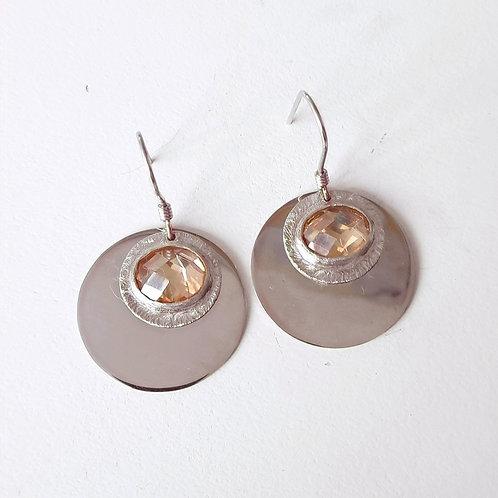 925 Ayar Gümüş Şampanya Zirkon Taşlı Özel Tasarım El Yapımı Küpe