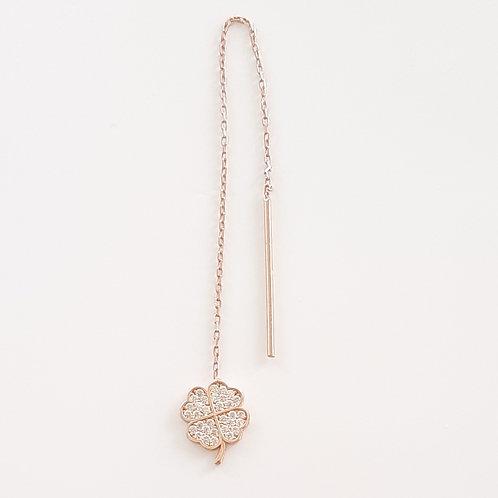 925 Ayar Gümüş Beyaz Zirkon Taşlı Yonca Figürlü Zincir Tek Küpe