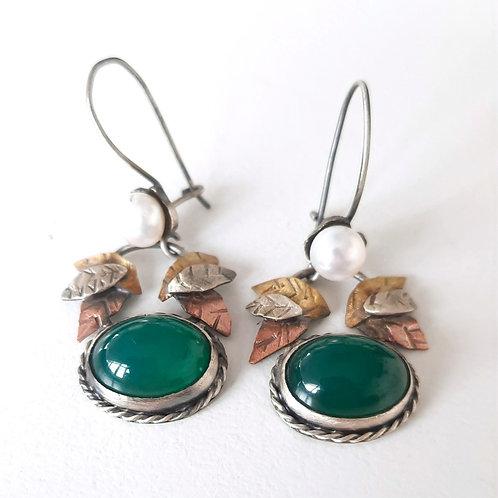 925 Ayar Gümüş Yeşil Akik ve İnci Doğal Taşlı  Özel Tasarım Tek Küpe