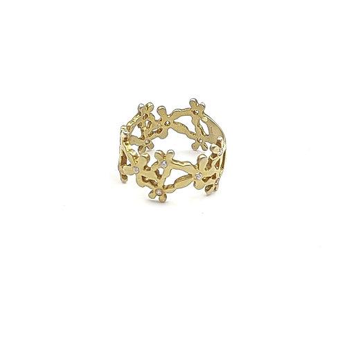 925 Ayar Gümüş Zirkon Doğal Taşlı Çiçek Figürlü Özel Tasarım Yüzük